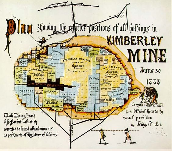 An old plan showing the relative positions of all holdings in Kimberley Mine in 1883 #oldmap