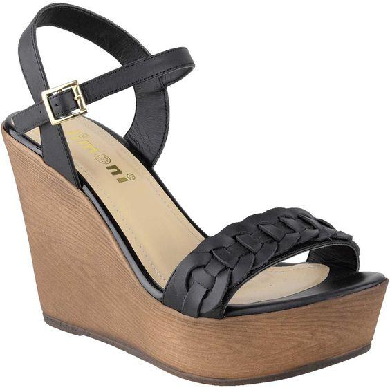 sandalias de cuña madera y cuero