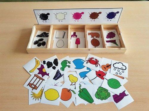 MANIPULATIVOS Materiales TEACCH: Caja de clasificación de colores de ARASAAC -Orientacion Andujar