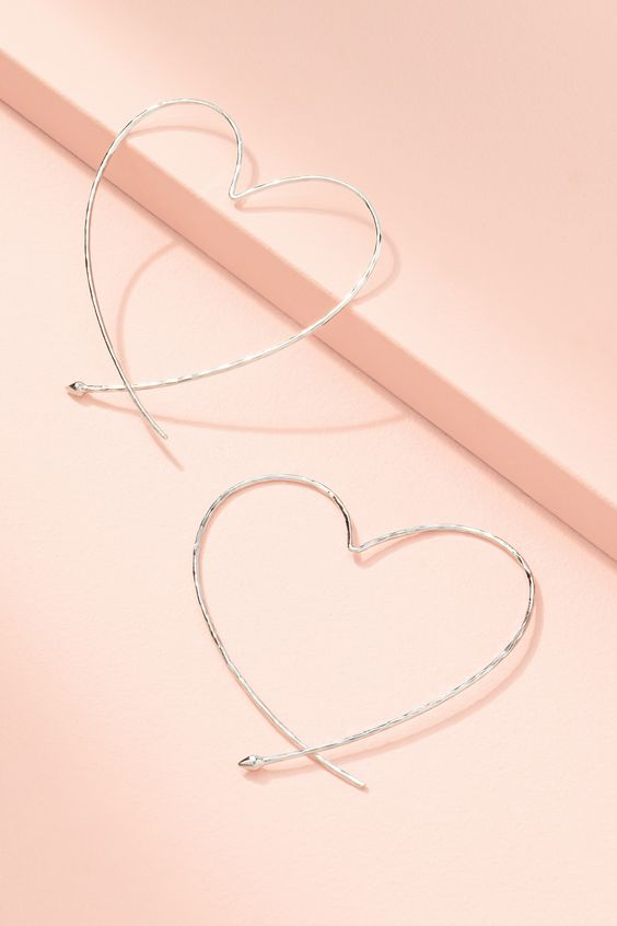 Essential Hammered Heart Hoops - Silver | Stella & Dot