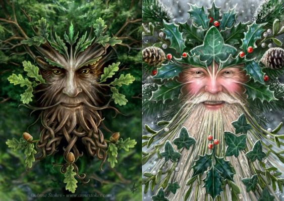 Согласно друидскому лунному календарю, дуб управляет светлой частью года, падуб — тёмной