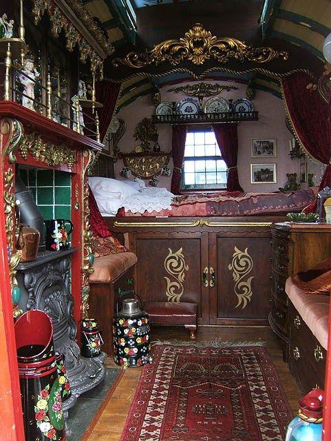 Gypsy living Traveling In Style |Caravan Gypsy Vardo Wagon: interior | Serafini…