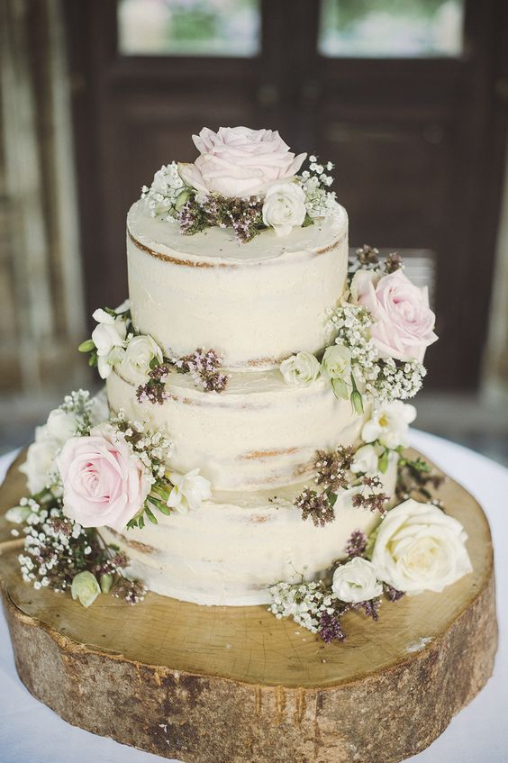 Naked Wedding Cake - Larmer Tree Gardens Dorset Wedding With Bride In Alan Hannah Bridesmaids In Navy ASOS Dresses With Images From Razia N Jukes Photography