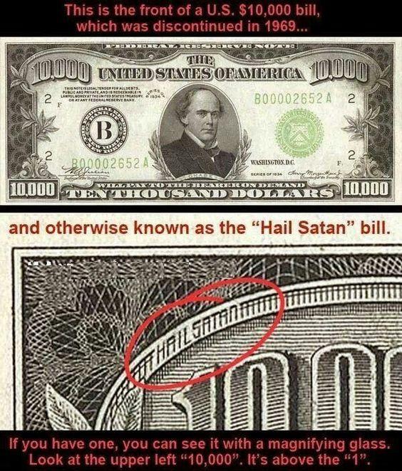 """""""Hail_Satan"""" dollar bill"""
