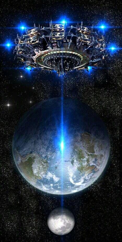 Ufo beam thru Earth into the moon