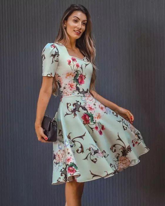 Vestido Midi Floral Godê Princesa - Moda Evangélica - Flor de Amêndoa