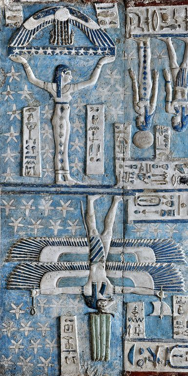 """Relics, Sculpture, Motifs for the Home :     'Goddess Nut…""""Nuit"""" supporting the sky at Dendera.'    -Read More –"""