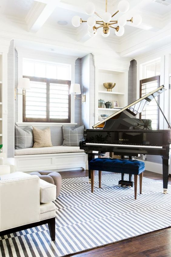 10 ways to decorate around your piano musicnotes now - How to furnish a small bedroom ...