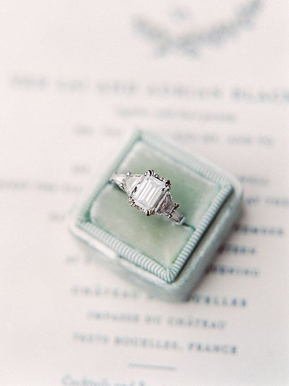 Emerald Cut Engagement Ring in a Vintage Velvet Box    #wedding #destinationwedding #travel #france #fineartwedding #ring #engagementring