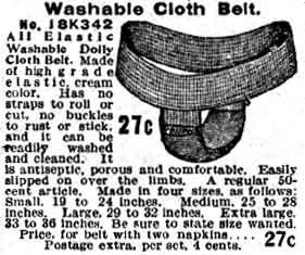 Sanitary napkin belts and pads from the 1902 and 1908 Sears, Roebuck catalogs at MUM