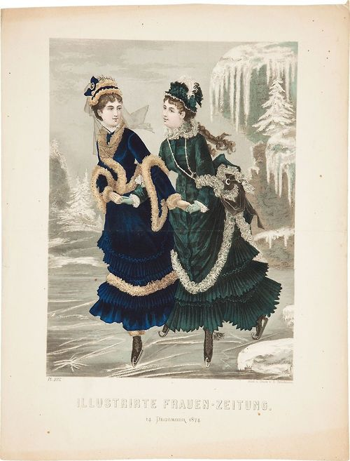 1874 winter skating outfits, Ice Skating, Fashion plate