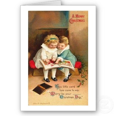 Children Reading Book Christmas Card from Zazzle.com