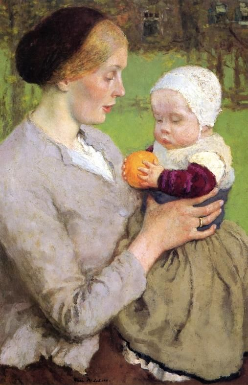 Mother and Child with Orange by Gari Melchers