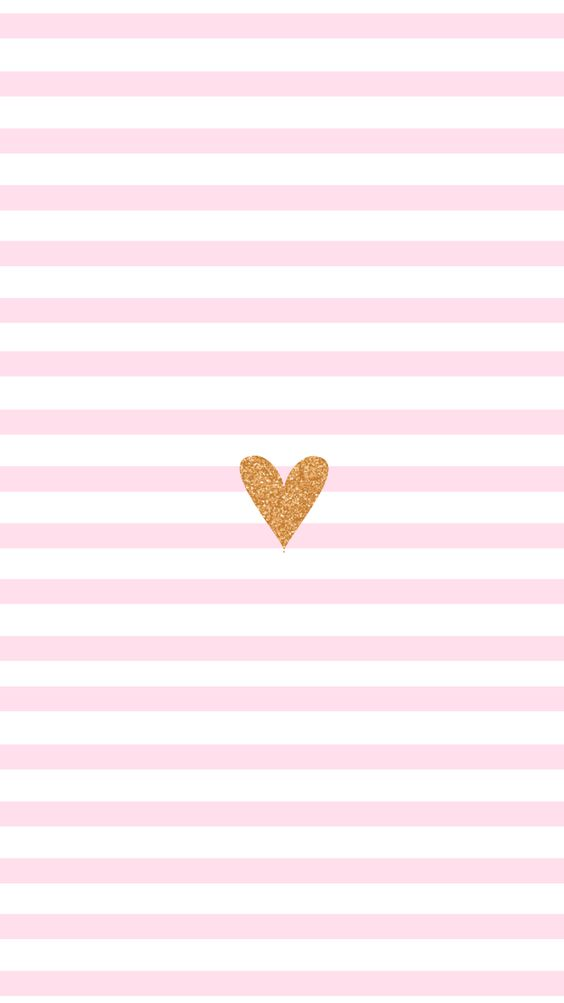 Pink stripes gold heart iPhone wallpaper