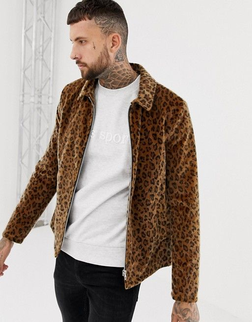 ASOS DESIGN zip through coach in leopard print