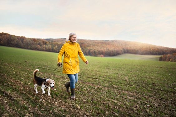 older woman walking a dog in a field