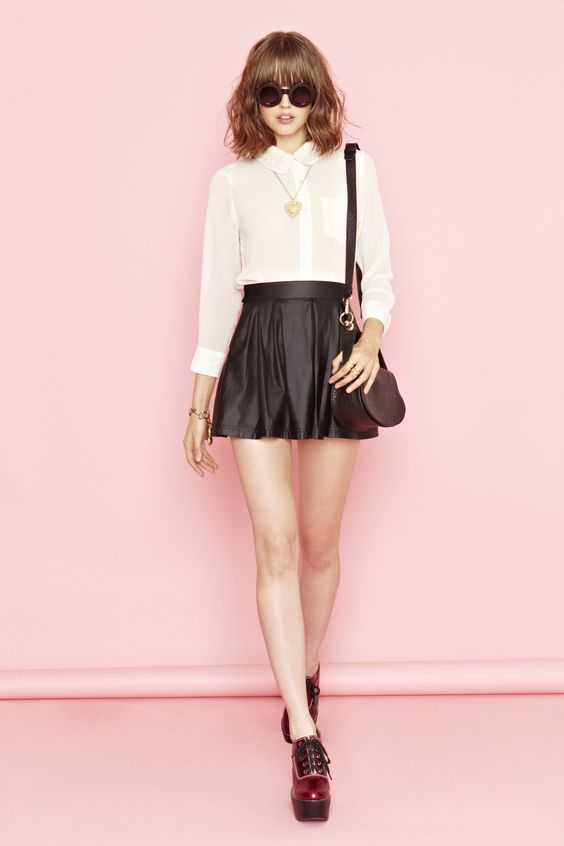 Varsity Moto Skirt and Corrine Crochet blouse