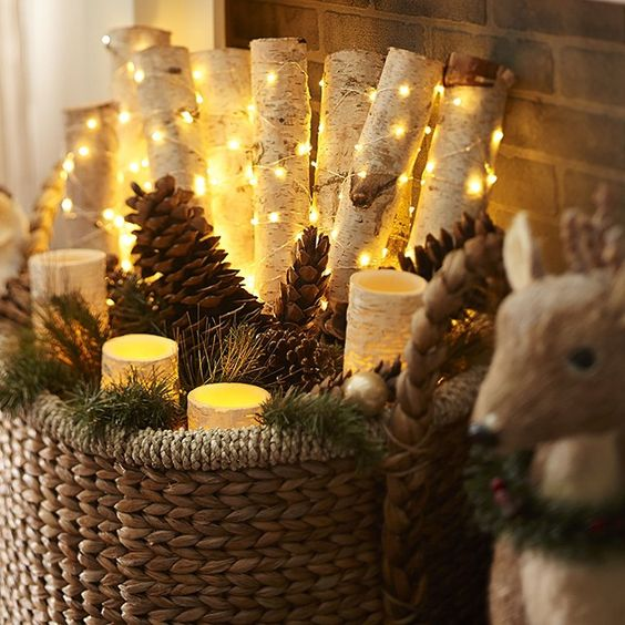 Here's one of our favorite Christmas #DIY projects for a natural holiday hearth. Start with a few LED Birch Pillars and then add some pinecones, garland and a strand of Glimmer Strings™ wrapped around real birch logs. #Pier1  See something that inspires you? Shop our Instagram via Like2b.uy/Pier1 (link in profile)