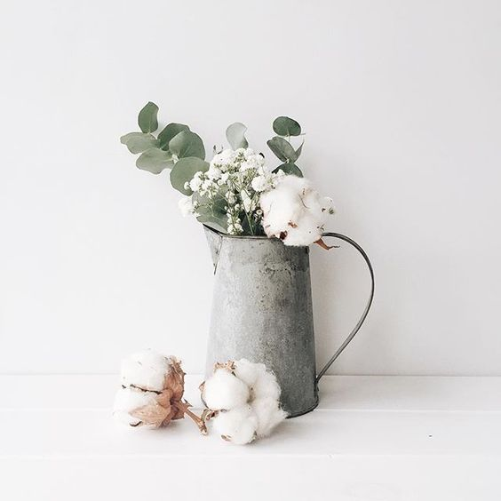 Eucalyptus leaves and cotton flowers // Floral arrangement | White Hart Design Co., on Iconosquare