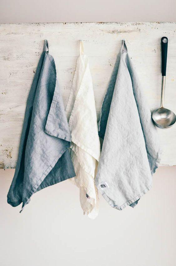 Serviettes lin (livraison gratuite). Ensemble de 3 lavé naturel, eco - amicales, handmade linge serviettes