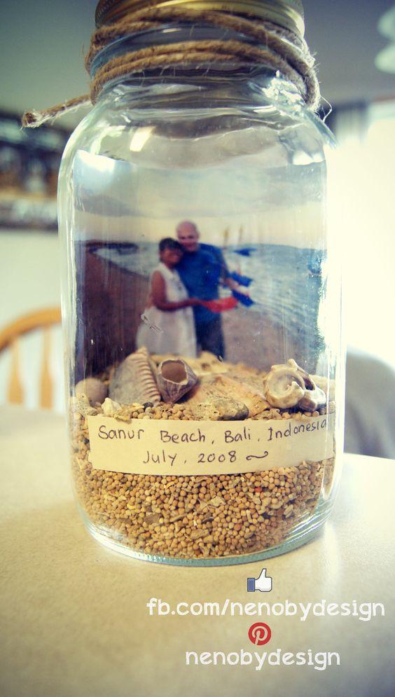 Mason Jar beach memory frame