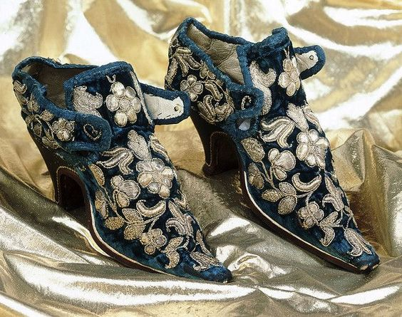 Shoes: probably worn by Lady Mary Stanhope (1660) Made of blue velvet and embroidered with silver gilt thread. Women's Velvet ShoesMade of blue velvet and embroidered with silver gilt thread