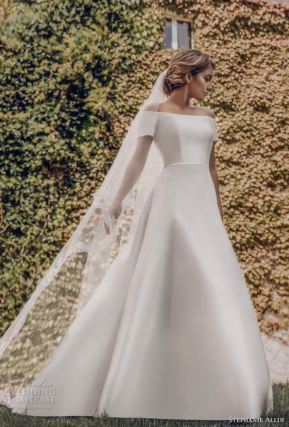 stephanie allin 2019 bridal short sleeves off the shoulder straight across neckline simple clean minimalist classic a  line wedding dress covered back chapel train (3) mv -- Stephanie Allin 2019 Wedding Dresses | Wedding Inspirasi #wedding #weddings #bridal #weddingdress #bride ~