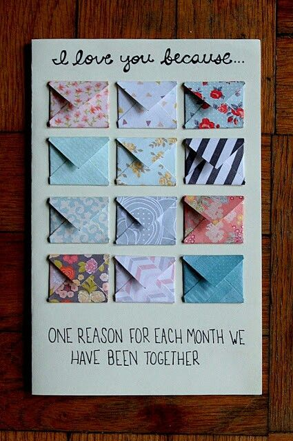 """I love you because..."" One reason each month - 18 Sweet DIY gift ideas for him - TodayWeDate.com"