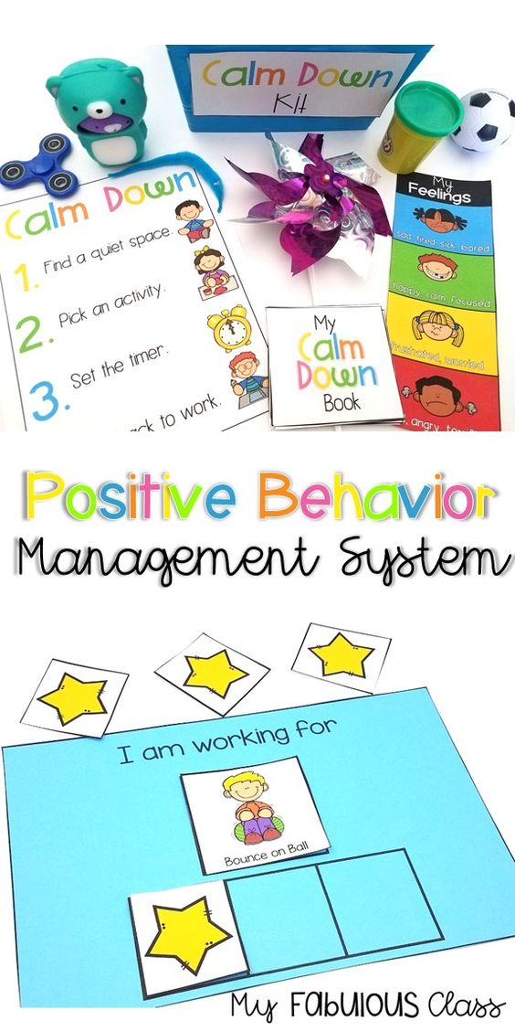 Positive Behavior Management system. Includes a calm down kit and ideas, zones of regulation, cue cards, token board, first then schedule. #kindergarten #specialeducation #autism #socialemotionallearning #sel
