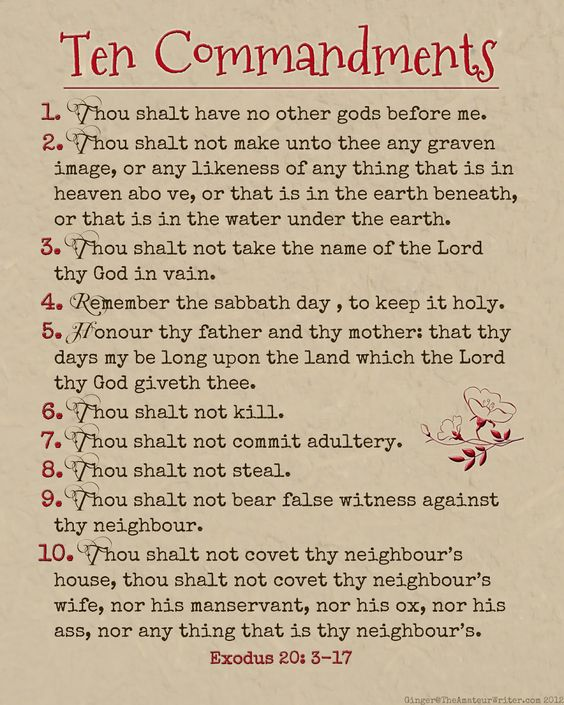 The Amateur Writer: Ten Commandments Printable