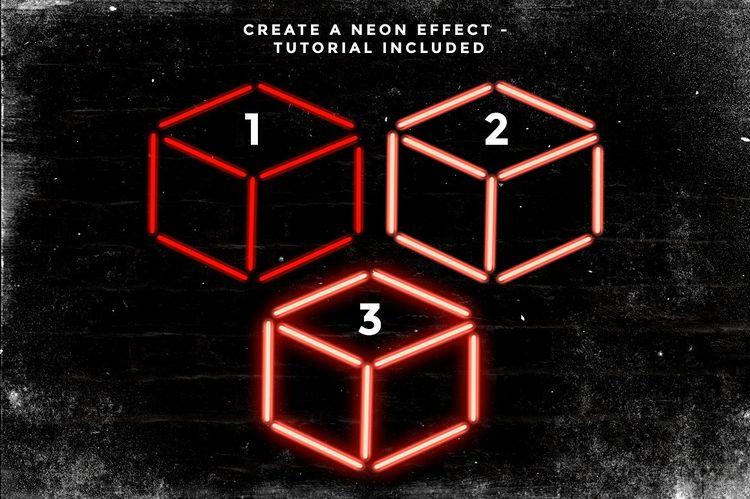 Set of 9 Neon Procreate brushes - Brushes