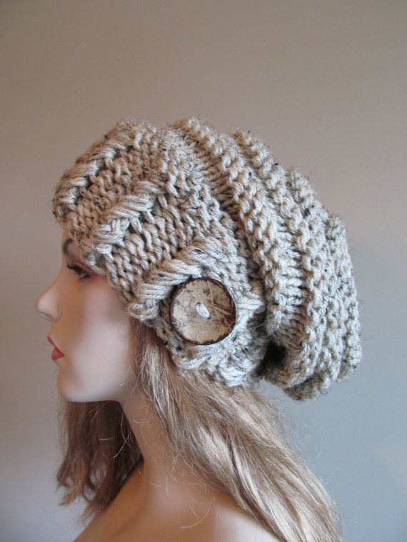 4ae6e1e79 Slouchy Beanie Slouch Hats Oversized Baggy Beret Button wom