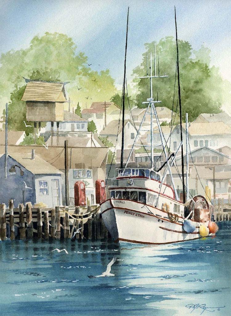 MORRO BAY FISHING Boat Watercolor Painting Art by k9artgallery