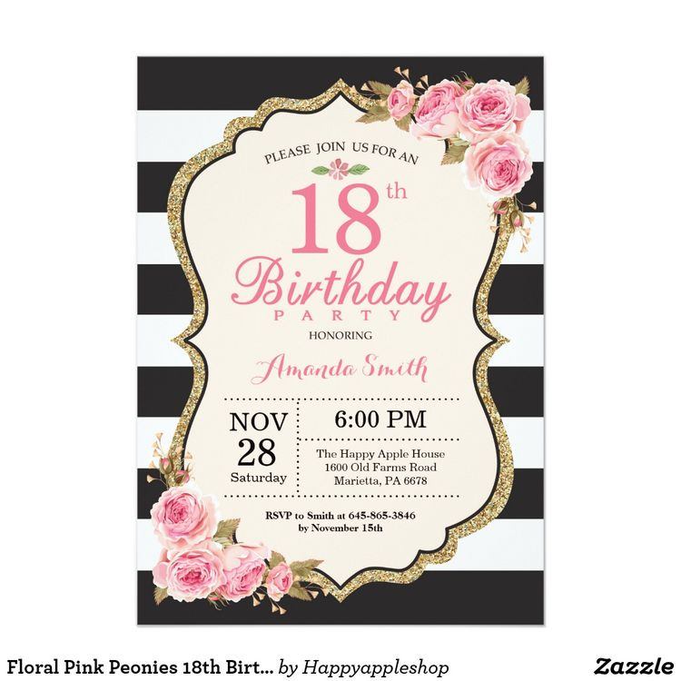 Floral Pink Peonies 18th Birthday Party Invitation
