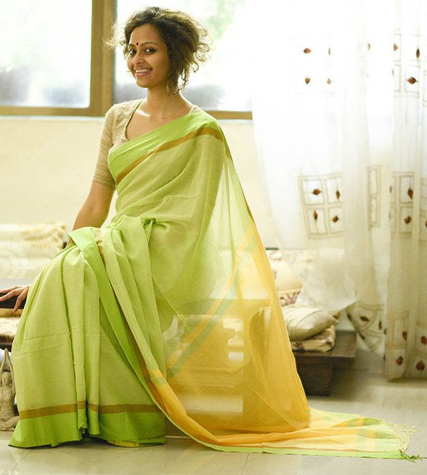 29aa8d8f3e48f Gorgeous Yellow and Spring Green Handloom Cotton Saree by Suta