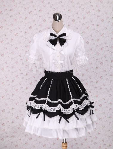 906d60a7ace96c Sweet Black White Lolita Skirt with Ruffles and Lace Trim