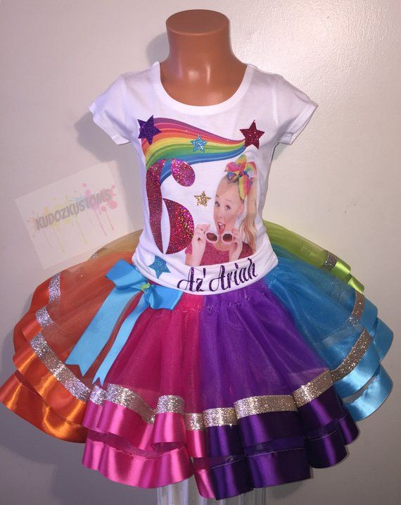 Jojo Siwa Birthday Set Includes Shirt And Tutu Size New Born Waist 13