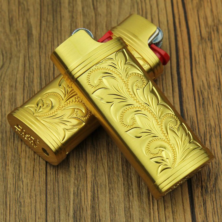 $12 - Bright Gold J5 Model Bic Lighters Case For Mini Size