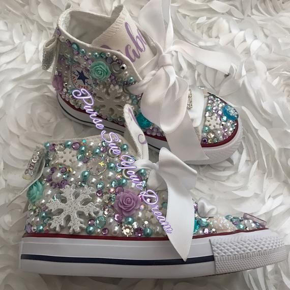 c8508dfb3f08db Disney Frozen Themed Swarovski Crystal Designed Converse Shoes - Frozen  Birthday - Anna-Elsa -
