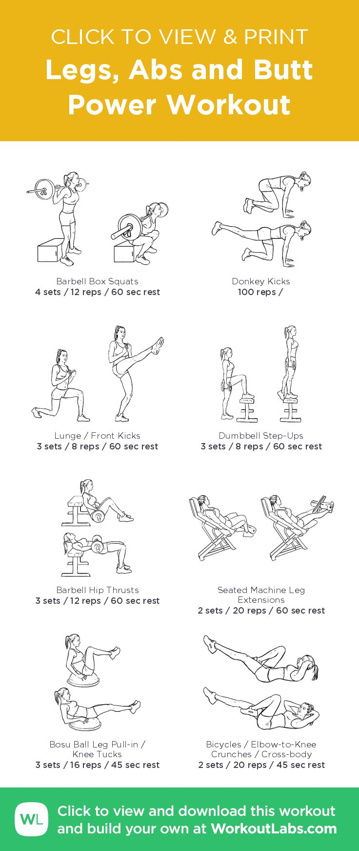 Legs, Abs and Butt Power Workout – illustrated exercise pla