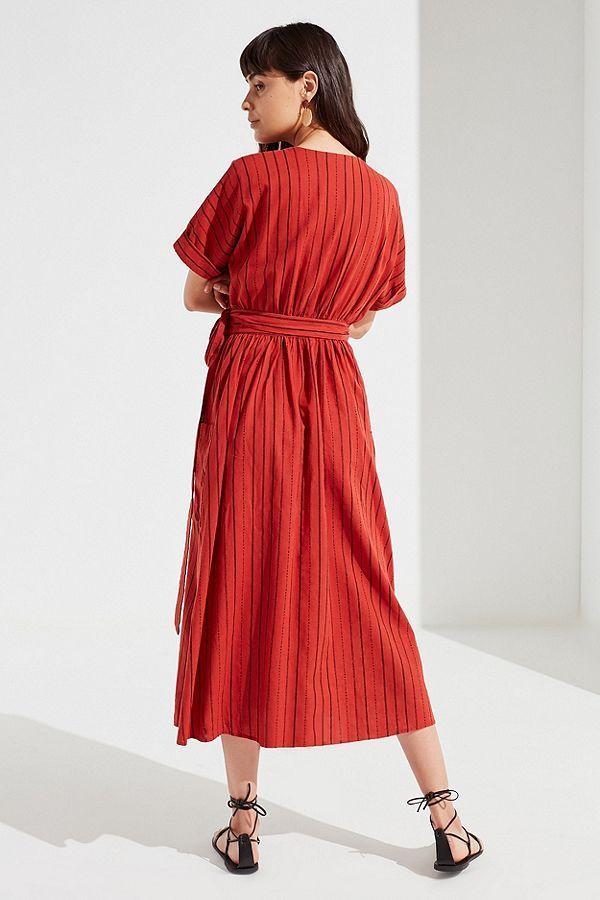 9c4d89c92ac56 UO Gabrielle Linen Midi Wrap Dress