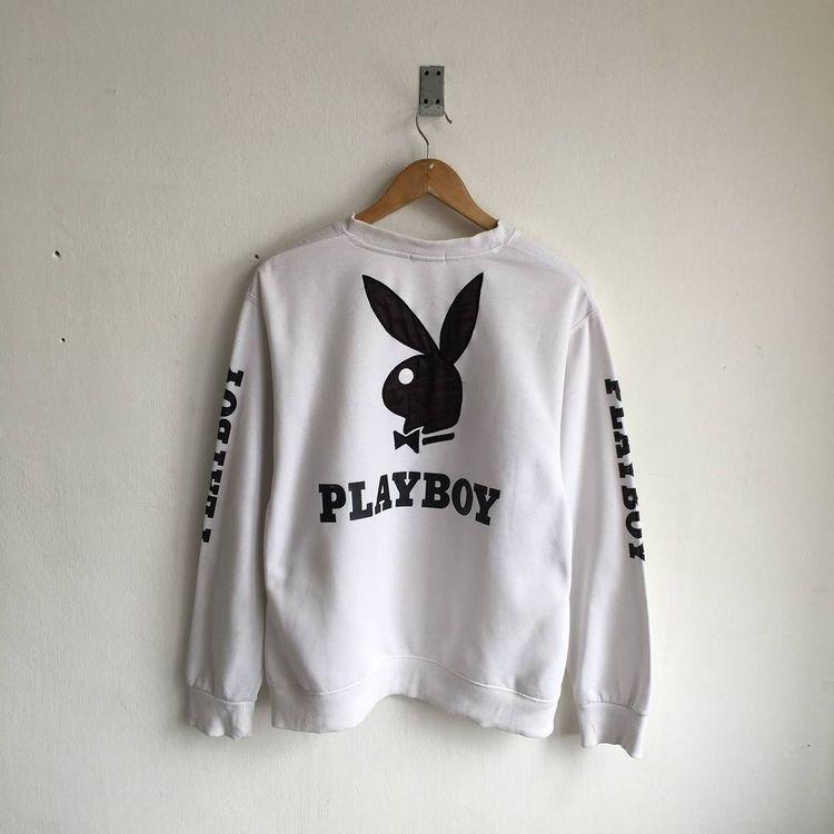 b1bcc908926f4 Vintage 80s/90s PLAYBOY Biglogo Embroidered White Sweatshir