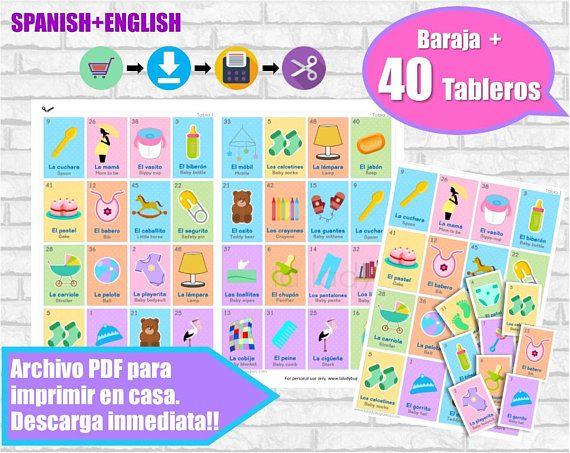 Loteria Baby Shower Ingles Y Espanol Juego Para Baby Showe