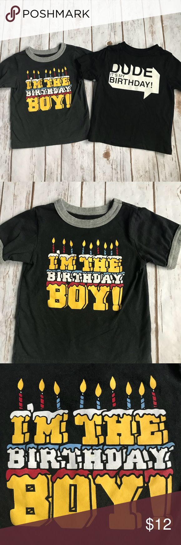 2 Toddler Boy Happy Birthday Tee Shirts GREAT USED CONDITION Both Are By The Childrens