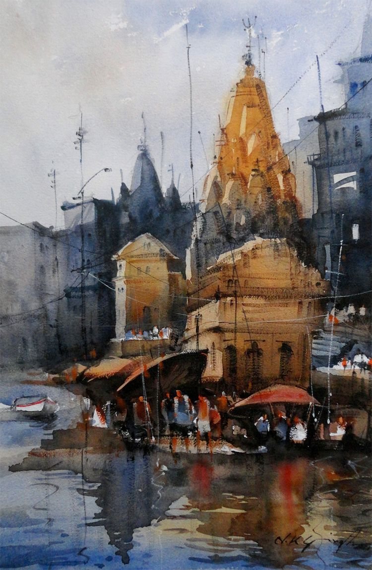 Indian temple - Watercolor painting