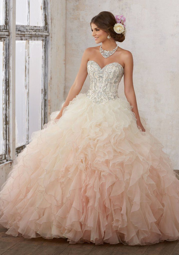 fcd4104d4f3 Ombre Ruffled Quinceanera Dress by Mori Lee Vizcaya 89123