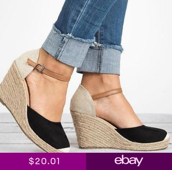 1f33df295 Womens Ladies Low Heel Wedge Espadrilles Summer Sandals Casual Holiday Size  New