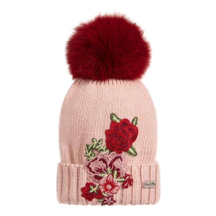 d2cd714cec2 Girls Pink Rose Pom-Pom Hat