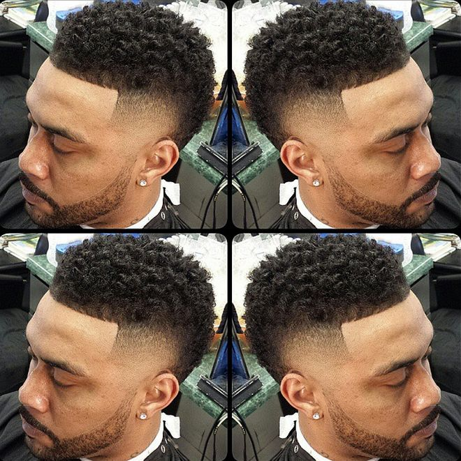 Faux hawk curly top fade