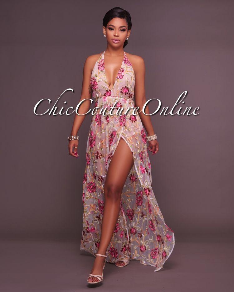 cce90e62654 Fanika V Neck Nude Embroidered Romper Maxi Dress